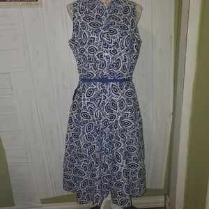 Madison Leigh Ikat button down swing dress plus 16
